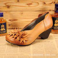 森女系复古手工真皮女鞋坡跟舒适套脚浅口文艺鞋外贸原单休闲女鞋
