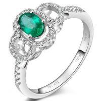 星城CR4268 椭圆刻面天然祖母绿戒指 白18K金绿宝石钻戒 配证书