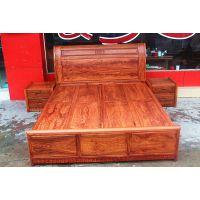 中山刺猬紫檀经典大床系列产品 古典红木卧室床 缅甸花梨实木大床价格是多少