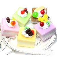 创意仿真食玩正方形巧克力水果蛋糕手机链 仿真蛋糕食物手机挂件