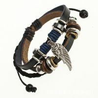 韩版时尚个性小翅膀合金挂件 真皮串珠手链 牛皮手工饰品批发