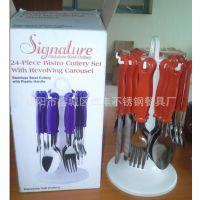 揭阳餐具厂家专业批发塑料柄餐具不锈钢刀叉勺可定做塑料柄刀叉勺