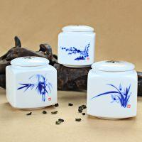 手绘精致款陶瓷茶叶罐 特色四方缸陶瓷茶叶罐密封罐 高档茶叶罐