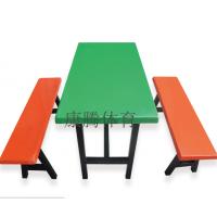 福建分体式学校食堂餐桌椅安装 4人位玻璃钢餐桌价格 工厂食堂桌椅直销康腾体育