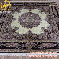 伊朗豪华高端定制浅紫色方形客厅餐厅装饰手工真丝地毯