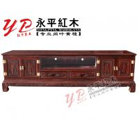永平红木销售客厅组合家具四门两抽黑酸枝电视柜