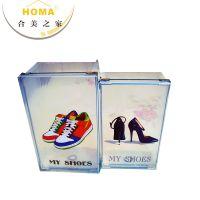 厂家直销 上下盖塑料折叠鞋盒 水晶透明鞋盒靴盒 礼品鞋盒