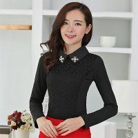 2015春季新款韩版蕾丝长袖修身显瘦t恤立领加绒加厚百搭打底衫女