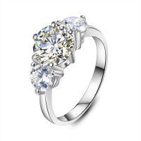 18K白金莫桑钻石戒指女三颗钻3克拉莫桑钻戒三生石 厂家批发定制