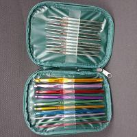 厂家直销钩针套装批发 皮套氧化铁单钩针 衣针编织工具