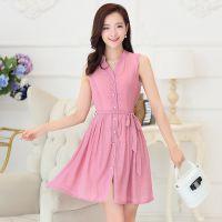 2015年新款V领竹棉麻雪纺连衣裙女装衣服 夏季厂家批发 三色可选