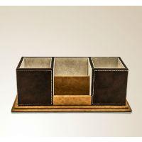 高档皮革笔筒名片座 多功能桌面收纳盒 创意时尚韩国办公用品