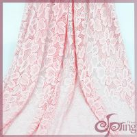 Pink flower tricot lace, elagant swiss lace fabric