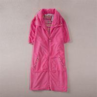 欧美女装外贸原单批发摇粒绒短袖睡袍睡裙家居服拉链睡衣L250A