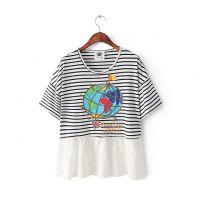 代发P605L2韩版新款  圆领蝙蝠袖条纹拼接地图印花褶皱T恤
