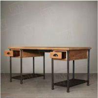 美式乡村实木铁艺复古写字台书桌办公桌现代简约铁艺电脑抽屉桌