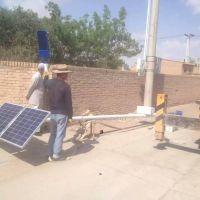 宁夏银川同心县安装了8米外挂太阳能路灯江苏开元照明供应