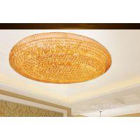 K9黄水晶椭圆蛋形形客厅水晶灯欧式豪华吸顶餐厅金色三层水晶灯