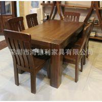 【厂家供应】餐桌餐厅桌椅组合  做旧风格老松木实木餐桌椅