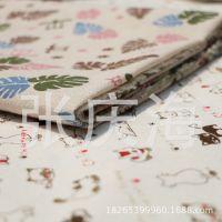 厂家直销  猫咪树叶 麻布印花 工艺品里布  棉麻印花手工沙发布