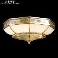 雷卡纳蒂欧式全铜灯欧式复古全铜灯玻璃焊锡书房卧室餐厅吸顶灯美式过道走廊玄关灯饰