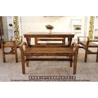 美式复古家具铁艺实木餐桌茶几书桌会议桌长凳餐厅桌北欧花园桌椅