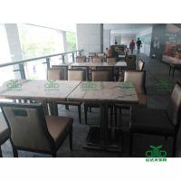 深圳运达来客户高端餐厅定制 大理石桌椅 高档连锁咖啡厅桌子西餐厅
