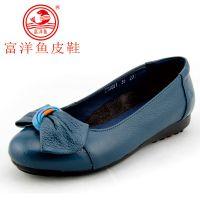 2014年新款女鞋富洋鱼真皮休闲鞋妈妈鞋平底女士皮鞋软皮软底批发