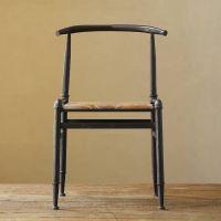 美式乡村复古做旧铁艺休闲椅 创意餐厅座椅 实木家具靠背椅子定做