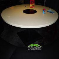 铁铁桌脚大理石火锅桌椅 圆形餐厅火锅桌 高档餐厅火锅桌家具定做