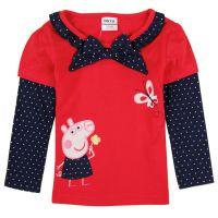 品牌童装秋季女童纯棉长袖T恤 佩佩猪女童圆领长款打底衫外贸童装