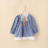 PA~春款童装  花边下摆格子裙衫 2-5岁 童衬衫 外贸童装 7J1178
