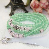 蓝云水晶 天然绿玉髓108颗佛珠手链 时尚清新女款 支持一件代发