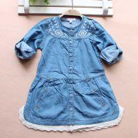 外贸法国原单Kitchoun女童纯棉水洗刺绣蕾丝花边长袖牛仔连衣裙