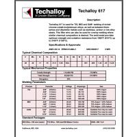 美国泰克罗伊Techalloy 617 镍基焊丝 ERNiCrCoMo-1焊丝