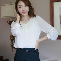 女装2013初秋新品 韩版雪纺衬衫蕾丝领钉珠长袖雪纺衫