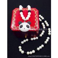 时尚精美首饰批发 925纯银萌萌哒熊猫国宝纯天然淡水珍珠毛衣链