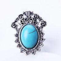 JZ5022 尼泊尔民族复古戒指  花卉合金雕花绿松石大小可调节戒指