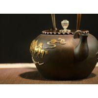 龙秀堂鎏金铸铁茶壶铁壶礼品定制批发万马奔腾八骏马老铁壶