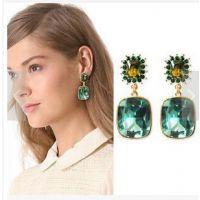 S191欧美时尚官网同款女士祖母绿水晶耳坠耳钉舞会典雅耳钉