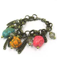 欧美经典热销款  绿松石自然风复古流苏大链条手链
