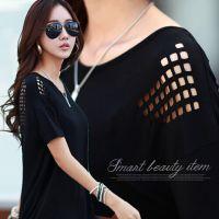 韩国官网同款2015夏季新款日韩大码女装烧花宽松短袖蝙蝠衫T恤女