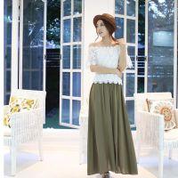 2015夏女装韩国东大门蕾丝短袖一字肩+抽绳松紧大摆半身长裙套装