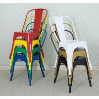欧式餐椅铁皮椅户外酒吧椅咖啡椅火锅店椅做旧铁艺餐厅靠背凳金属椅子