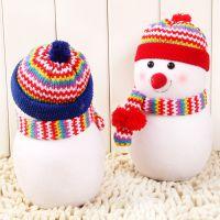 大红帽 蓝帽 精美泡沫雪人娃娃 圣诞雪人摆件 装饰品 圣诞夜礼品