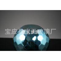 原创手工品味现代时尚高档高硼硅玻璃,蓝色菱形刻面烛台烛杯