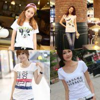 新款女装t恤 韩版春夏季短袖 白色圆领印花打底衫t恤女装批发