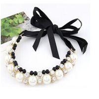 ViVi款 韩版大珍珠水钻女式短款项链夸张锁骨链颈链 义乌工厂直销