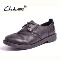 秋新款欧美外贸女式真皮皮鞋 系带坡跟休闲妈妈鞋 品牌时尚女单鞋