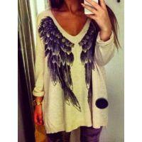 特价处理 天使翅膀图案印花毛衣秋季欧美爆款外贸女士套头针织衫